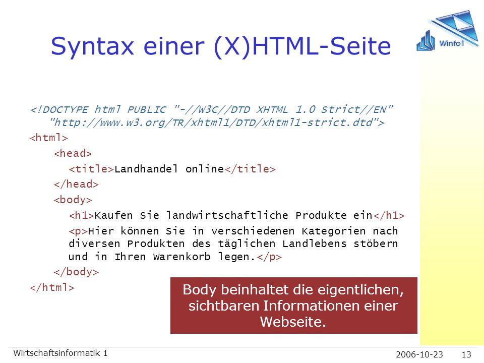 2006-10-23 Wirtschaftsinformatik 1 13 Syntax einer (X)HTML-Seite Landhandel online Kaufen Sie landwirtschaftliche Produkte ein Hier können Sie in vers