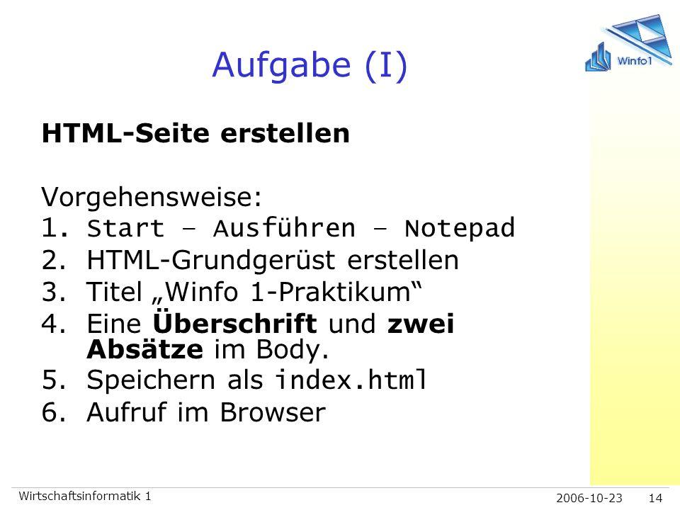 2006-10-23 Wirtschaftsinformatik 1 14 Aufgabe (I) HTML-Seite erstellen Vorgehensweise: 1.Start – Ausführen – Notepad 2.HTML-Grundgerüst erstellen 3.Ti