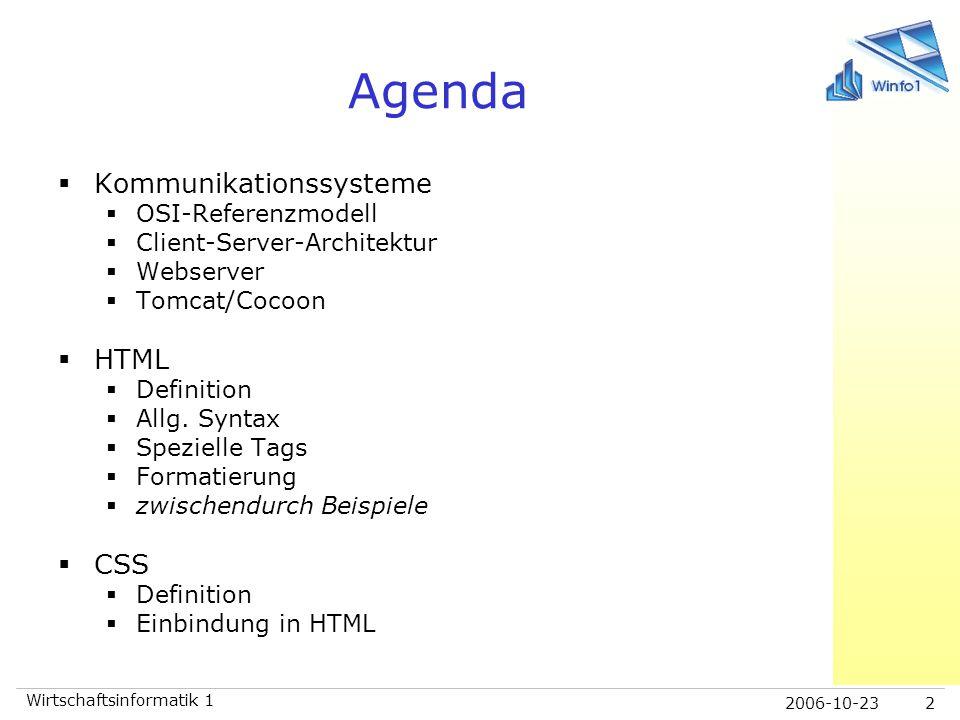 2006-10-23 Wirtschaftsinformatik 1 2 Agenda  Kommunikationssysteme  OSI-Referenzmodell  Client-Server-Architektur  Webserver  Tomcat/Cocoon  HTM