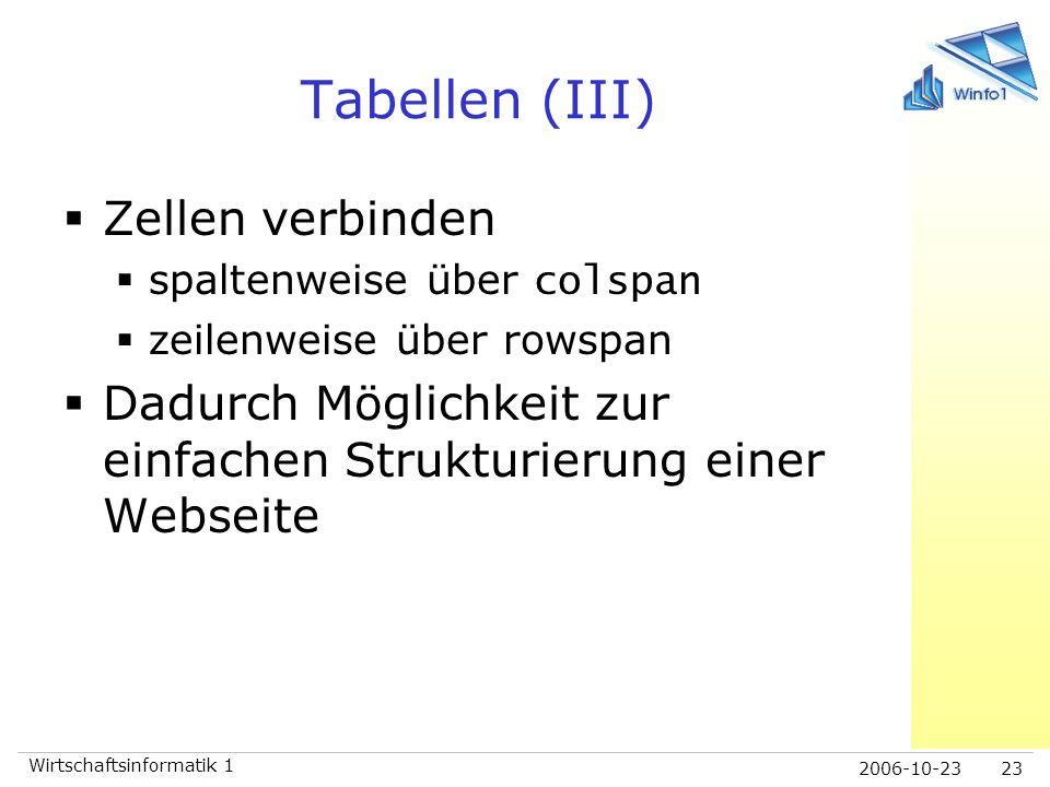 2006-10-23 Wirtschaftsinformatik 1 23 Tabellen (III)  Zellen verbinden  spaltenweise über colspan  zeilenweise über rowspan  Dadurch Möglichkeit z