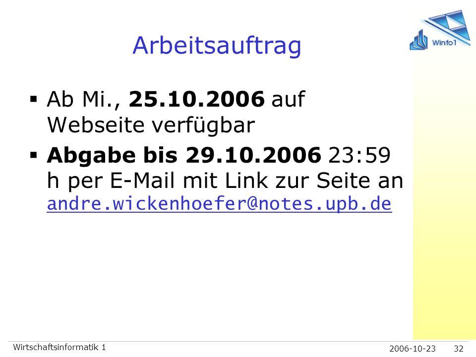 2006-10-23 Wirtschaftsinformatik 1 32 Arbeitsauftrag  Ab Mi., 25.10.2006 auf Webseite verfügbar  Abgabe bis 29.10.2006 23:59 h per E-Mail mit Link z