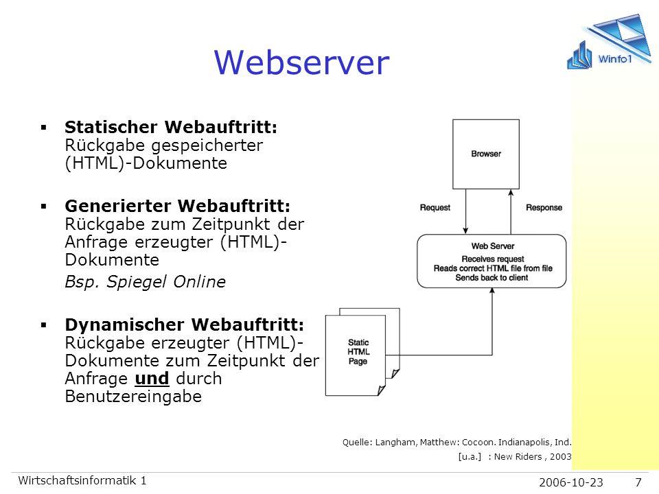 2006-10-23 Wirtschaftsinformatik 1 7 Webserver  Statischer Webauftritt: Rückgabe gespeicherter (HTML)-Dokumente  Generierter Webauftritt: Rückgabe z