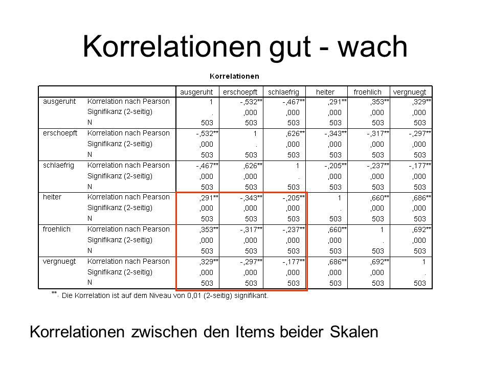 Korrelationen gut – wach (Summenscores) UMKODIEREN IST ENTSCHEIDEND!  KORREKTE KORRELATION!!!