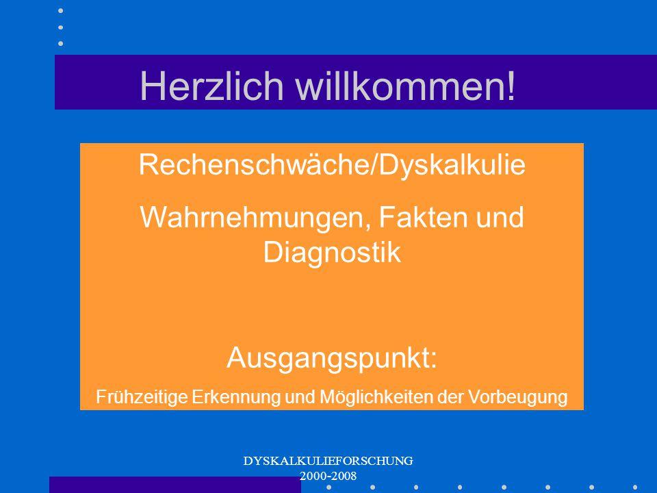 DYSKALKULIEFORSCHUNG 2000-2008 Herzlich willkommen.