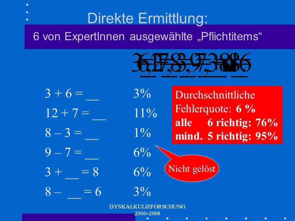 DYSKALKULIEFORSCHUNG 2000-2008 Teststatistische Ableitung: wenn die Verteilungskurve knickt...