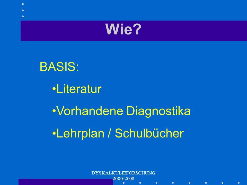 DYSKALKULIEFORSCHUNG 2000-2008 DAS DIAGNOSTIKUM Prozedere der Testentwicklung - Beispiele: ERT 1+ ERT 2+ Eggenberger Rechentest - Diagnostikum für Dys