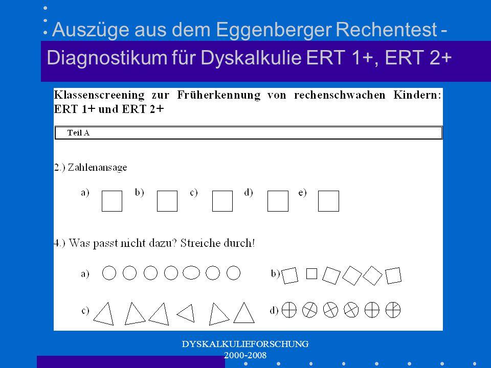 DYSKALKULIEFORSCHUNG 2000-2008 Kognitive mathematische Grundfähigkeiten (GS I) Raumlage - Orientierung Zahlenansage (Zahlencodierung) Vergleichen (Dif