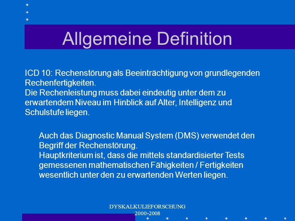 DYSKALKULIEFORSCHUNG 2000-2008 Unspezifische Vorläuferfertigkeiten Klassifikation von Objekten nach Merkmalen räumliches Vorstellungs- vermögen Sprachverständnis für präpositionale Beziehungen Gedächtnisspanne/ Sequenzgedächtnis Intelligenz