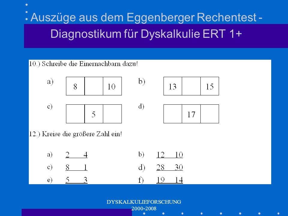 DYSKALKULIEFORSCHUNG 2000-2008 Ordnungsstrukturen Einernachbarn (Zahlenraumorientierung) Zehnernachbarn (nur ERT 1+) Zahlenvergleich (numerische Mengenperzeption) Viel oder wenig (kontextuelle Mengenperzeption) (nur ERT 2+)
