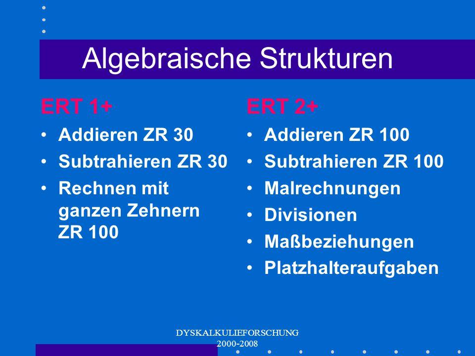 DYSKALKULIEFORSCHUNG 2000-2008 Algebraische Strukturen Operationsverständnis Math. Prozeduren (Algorithmen )
