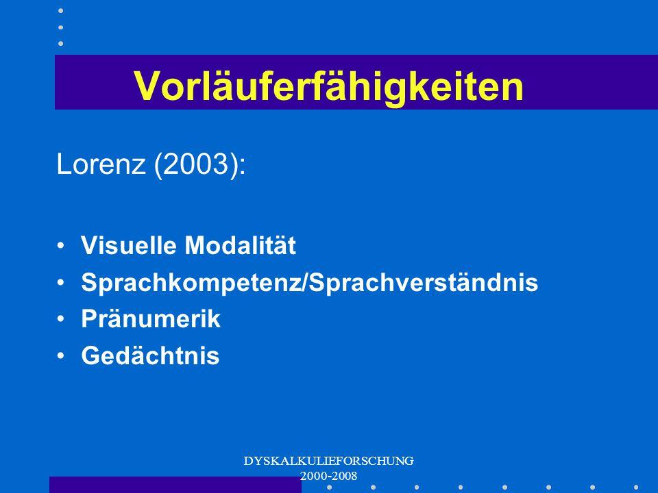 DYSKALKULIEFORSCHUNG 2000-2008 ERT 0+ Entwicklung Erstellung eines umfangreichen Instrumentariums Erprobung bei Kindergartenkindern und SchulanfängerInnen Itemvorselektion und Homogenisierung in 3 Vorstudien Aktuell: Hauptstudie und Längsschnittvalidierung