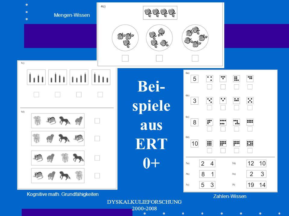 DYSKALKULIEFORSCHUNG 2000-2008 Zahlbezogenes Vorwissen Zählfertigkeit Arabisches Zahlwissen Rechenfertigkeiten mit konkretem Material