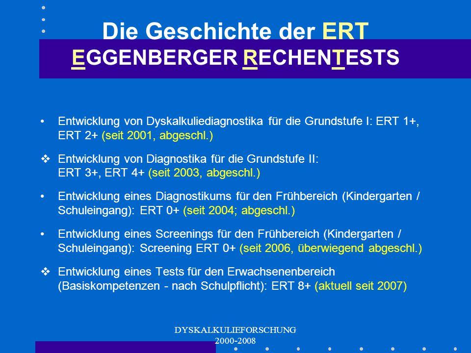 DYSKALKULIEFORSCHUNG 2000-2008 Bei- spiele aus ERT 0+ Mengen-Wissen Zahlen-Wissen Kognitive math. Grundfähigkeiten