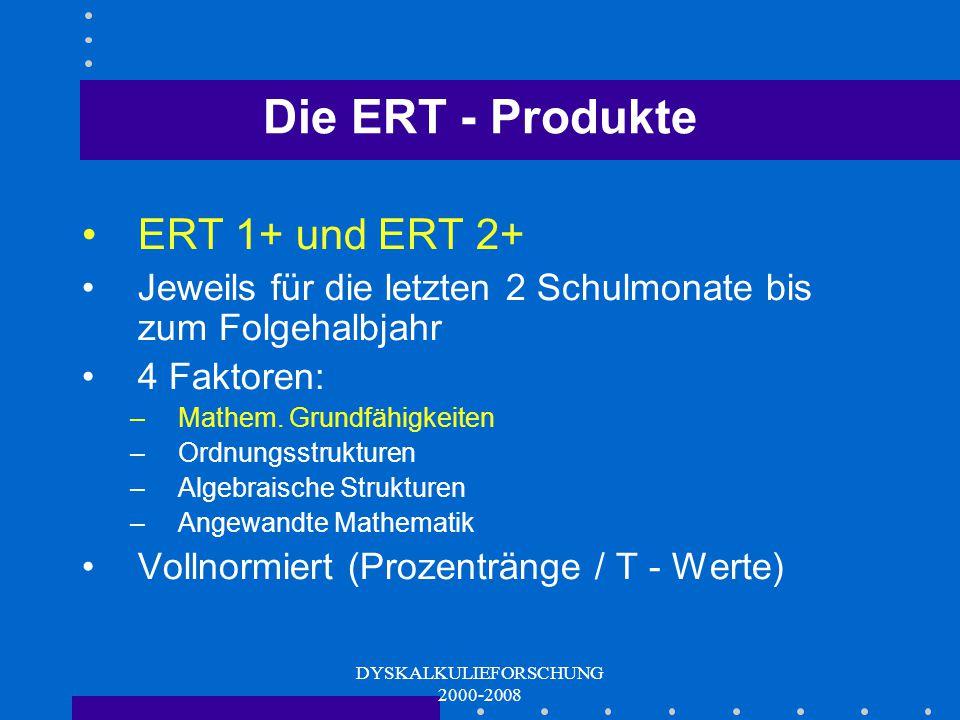 DYSKALKULIEFORSCHUNG 2000-2008 Die Geschichte der ERT EGGENBERGER RECHENTESTS Entwicklung von Dyskalkuliediagnostika für die Grundstufe I: ERT 1+, ERT 2+ (seit 2001, abgeschl.)  Entwicklung von Diagnostika für die Grundstufe II: ERT 3+, ERT 4+ (seit 2003, abgeschl.) Entwicklung eines Diagnostikums für den Frühbereich (Kindergarten / Schuleingang): ERT 0+ (seit 2004; abgeschl.) Entwicklung eines Screenings für den Frühbereich (Kindergarten / Schuleingang): Screening ERT 0+ (seit 2006, überwiegend abgeschl.)  Entwicklung eines Tests für den Erwachsenenbereich (Basiskompetenzen - nach Schulpflicht): ERT 8+ (aktuell seit 2007)