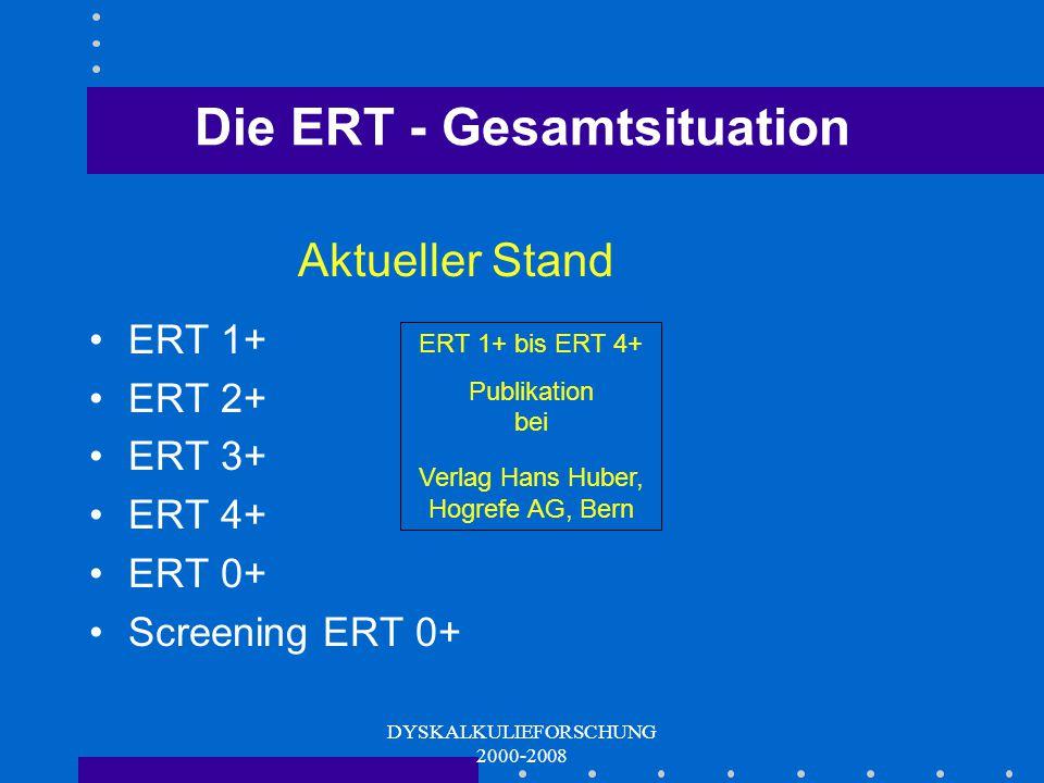 DYSKALKULIEFORSCHUNG 2000-2008 Die ERT - Produkte ERT 0+ und Screening ERT 0+ Ausgehendes Kindergartenalter bis zum Halbjahr der 1. Schulstufe 3 bzw.