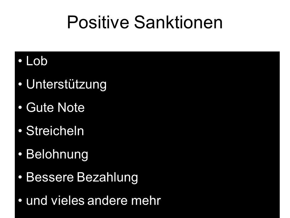 Positive Sanktionen Lob Unterstützung Gute Note Streicheln Belohnung Bessere Bezahlung und vieles andere mehr