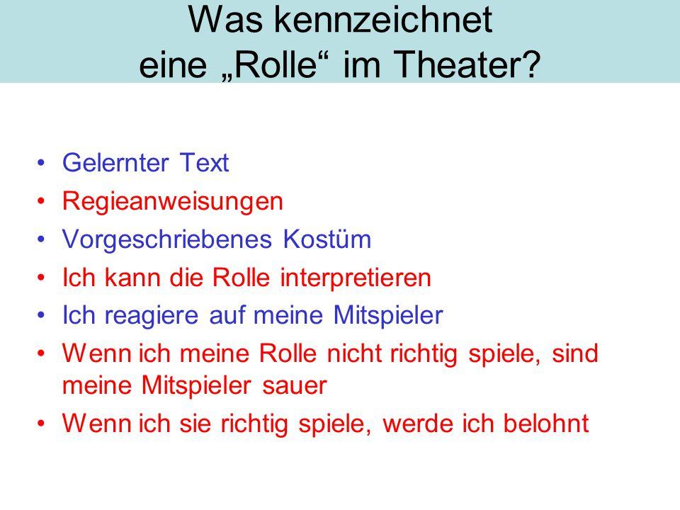 """Was kennzeichnet eine """"Rolle im Theater."""