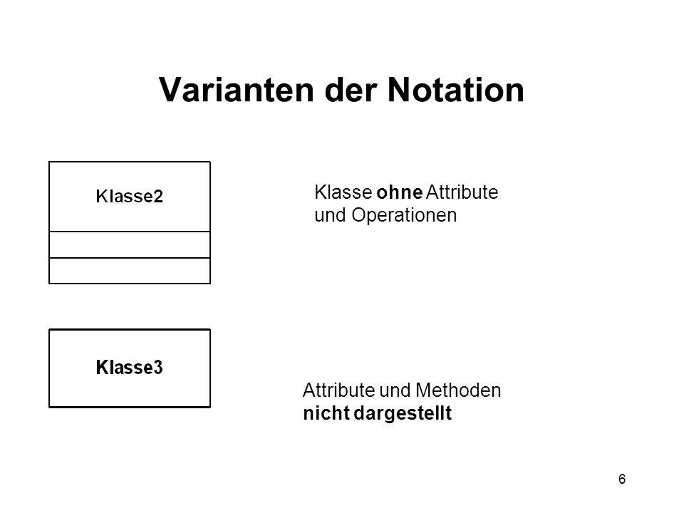 6 Varianten der Notation Klasse ohne Attribute und Operationen Attribute und Methoden nicht dargestellt
