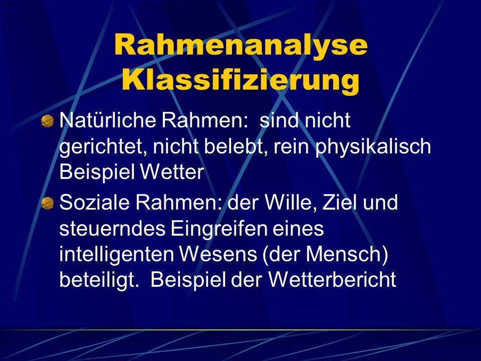 Rahmenanalyse Klassifizierung Natürliche Rahmen: sind nicht gerichtet, nicht belebt, rein physikalisch Beispiel Wetter Soziale Rahmen: der Wille, Ziel und steuerndes Eingreifen eines intelligenten Wesens (der Mensch) beteiligt.