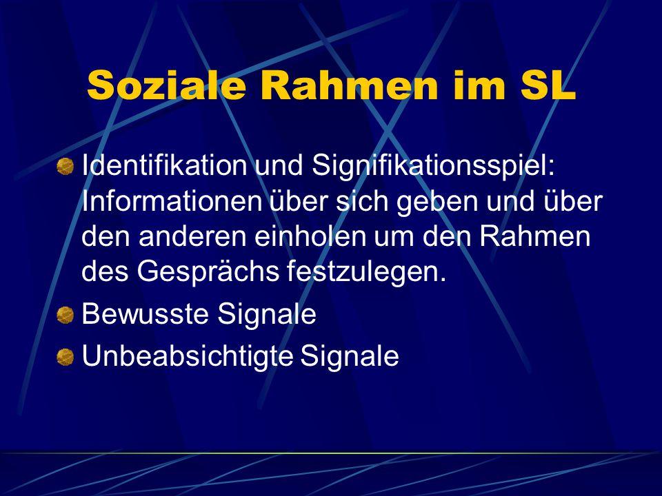 Soziale Rahmen im SL Identifikation und Signifikationsspiel: Informationen über sich geben und über den anderen einholen um den Rahmen des Gesprächs festzulegen.