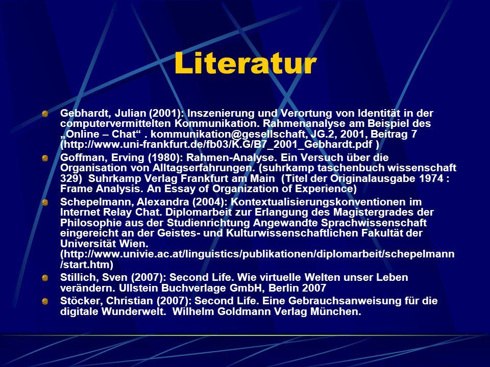 Literatur Gebhardt, Julian (2001): Inszenierung und Verortung von Identität in der computervermittelten Kommunikation.