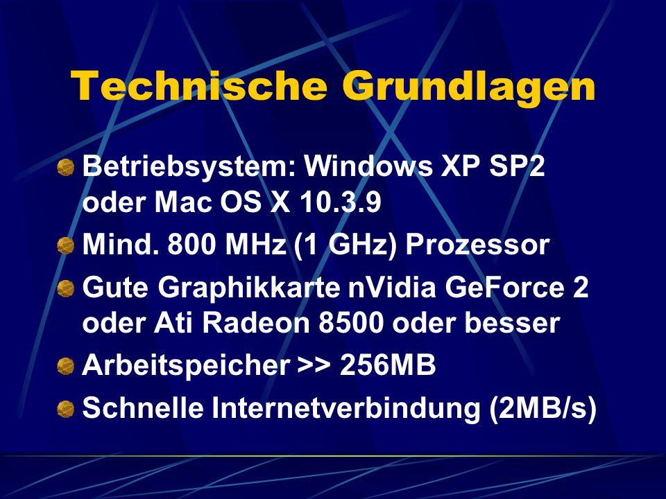 Technische Grundlagen Betriebsystem: Windows XP SP2 oder Mac OS X 10.3.9 Mind.