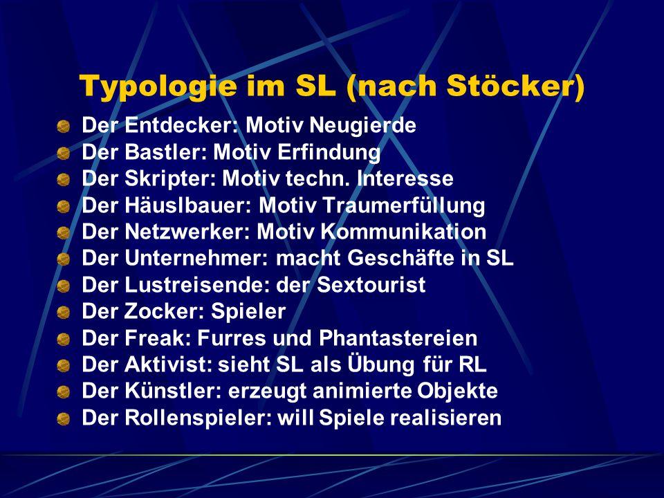 Typologie im SL (nach Stöcker) Der Entdecker: Motiv Neugierde Der Bastler: Motiv Erfindung Der Skripter: Motiv techn.