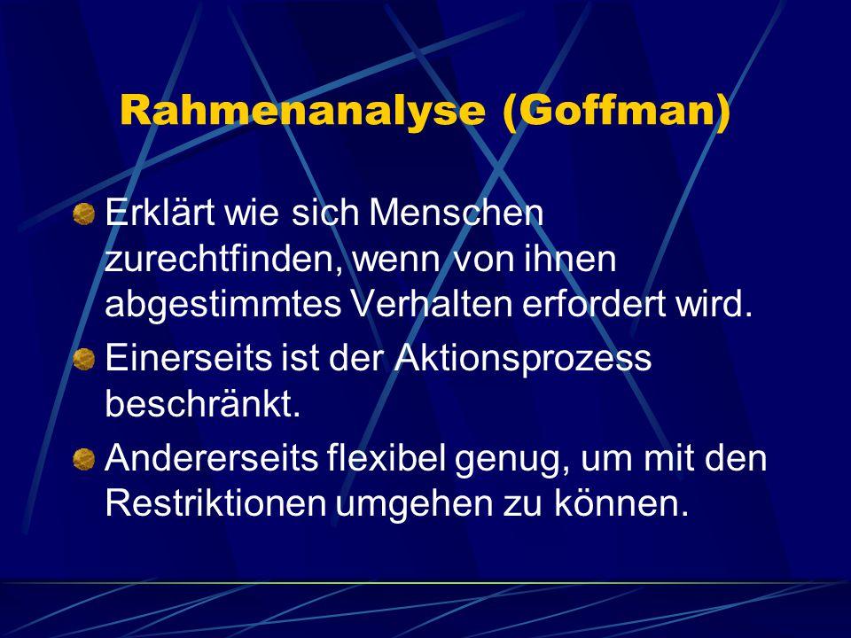 Rahmenanalyse (Goffman) Erklärt wie sich Menschen zurechtfinden, wenn von ihnen abgestimmtes Verhalten erfordert wird.
