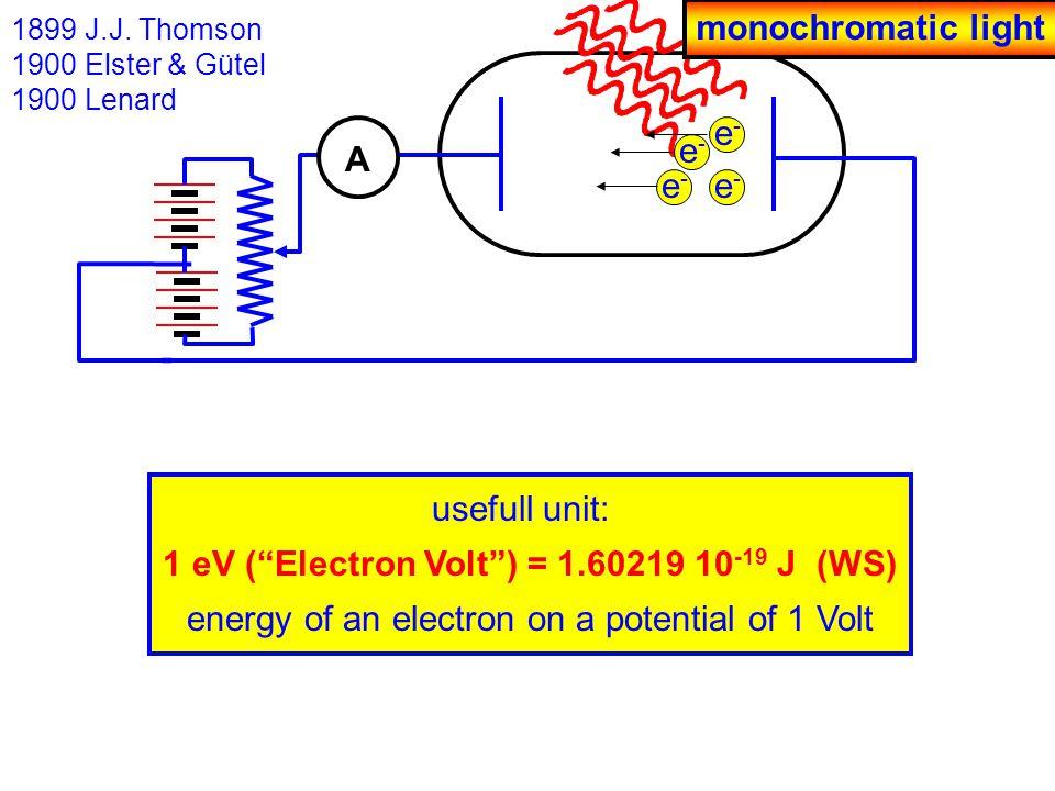 usefull unit: 1 eV ( Electron Volt ) = 1.60219 10 -19 J (WS) energy of an electron on a potential of 1 Volt 1899 J.J.