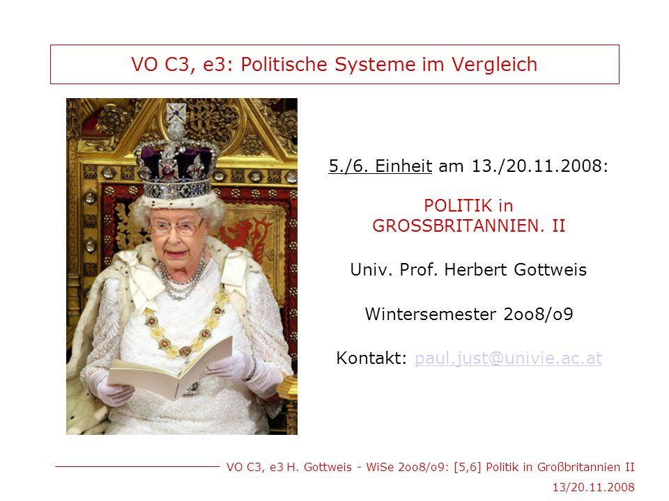 VO C3, e3 H. Gottweis - WiSe 2oo8/o9: [5,6] Politik in Großbritannien II 13/20.11.2008 VO C3, e3: Politische Systeme im Vergleich 5./6. Einheit am 13.