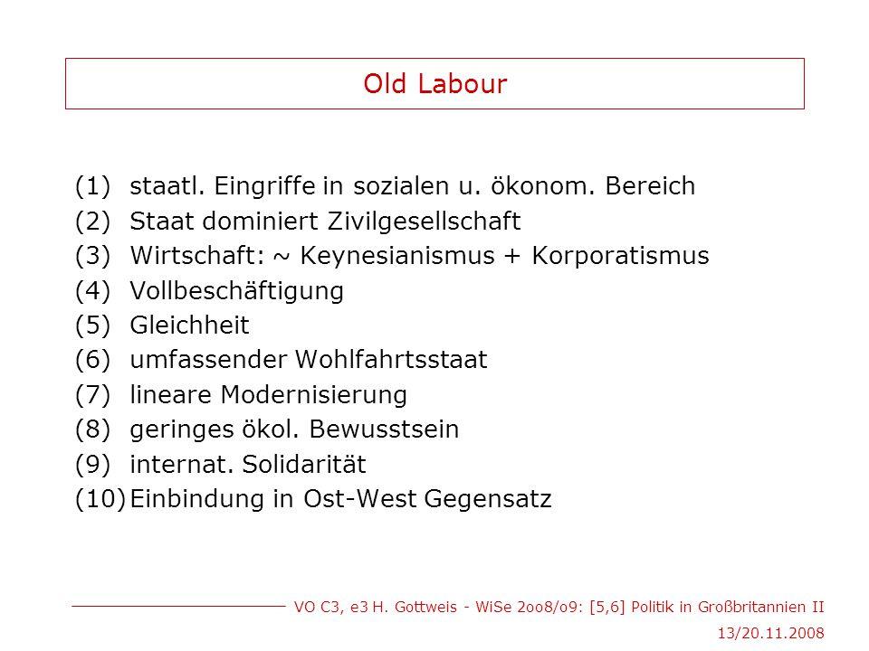 VO C3, e3 H. Gottweis - WiSe 2oo8/o9: [5,6] Politik in Großbritannien II 13/20.11.2008 Old Labour (1)staatl. Eingriffe in sozialen u. ökonom. Bereich