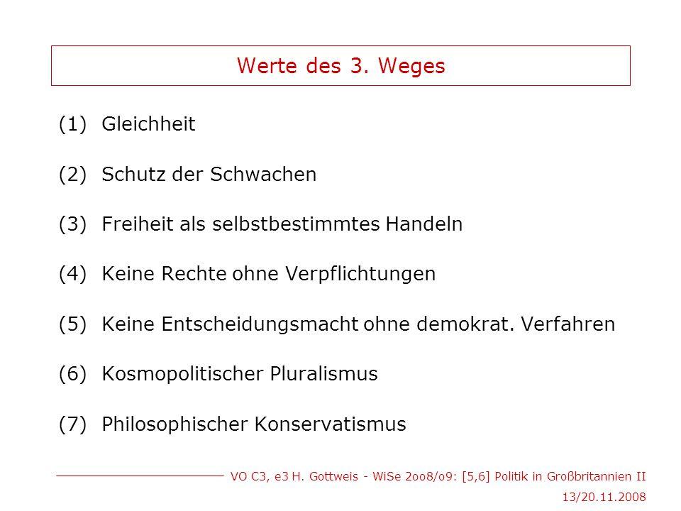 VO C3, e3 H. Gottweis - WiSe 2oo8/o9: [5,6] Politik in Großbritannien II 13/20.11.2008 Werte des 3. Weges (1)Gleichheit (2)Schutz der Schwachen (3)Fre