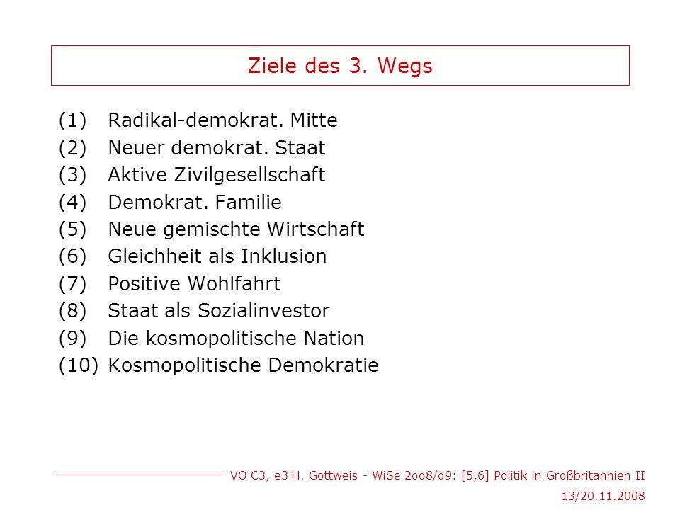 VO C3, e3 H. Gottweis - WiSe 2oo8/o9: [5,6] Politik in Großbritannien II 13/20.11.2008 Ziele des 3.