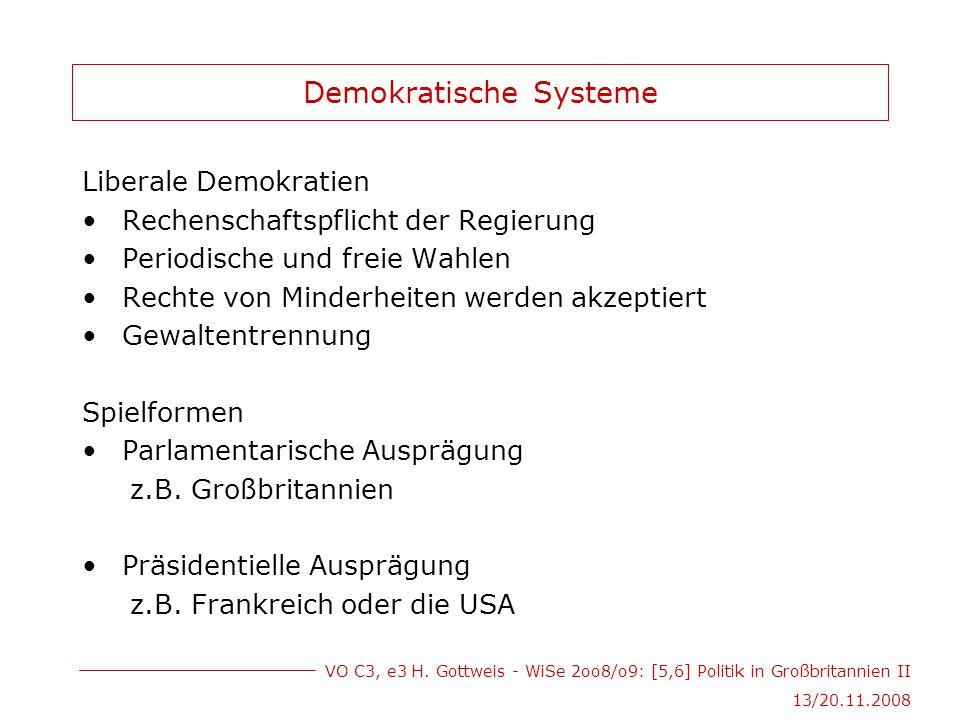 VO C3, e3 H. Gottweis - WiSe 2oo8/o9: [5,6] Politik in Großbritannien II 13/20.11.2008 Demokratische Systeme Liberale Demokratien Rechenschaftspflicht