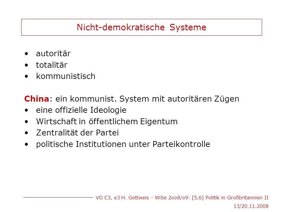 VO C3, e3 H. Gottweis - WiSe 2oo8/o9: [5,6] Politik in Großbritannien II 13/20.11.2008 Nicht-demokratische Systeme autoritär totalitär kommunistisch C