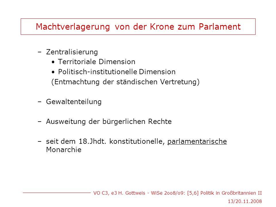 VO C3, e3 H. Gottweis - WiSe 2oo8/o9: [5,6] Politik in Großbritannien II 13/20.11.2008 Machtverlagerung von der Krone zum Parlament –Zentralisierung T