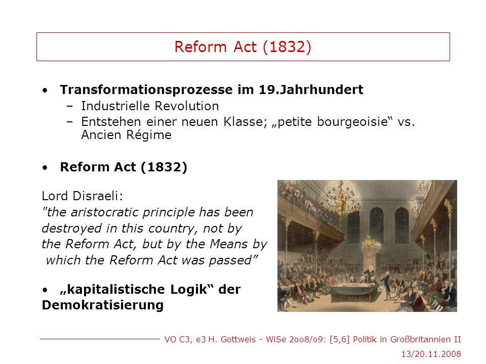 VO C3, e3 H. Gottweis - WiSe 2oo8/o9: [5,6] Politik in Großbritannien II 13/20.11.2008 Reform Act (1832) Transformationsprozesse im 19.Jahrhundert –In