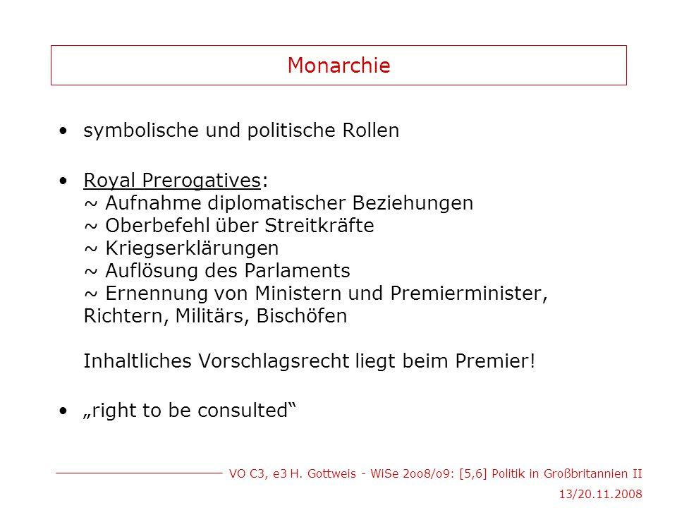VO C3, e3 H. Gottweis - WiSe 2oo8/o9: [5,6] Politik in Großbritannien II 13/20.11.2008 Monarchie symbolische und politische Rollen Royal Prerogatives: