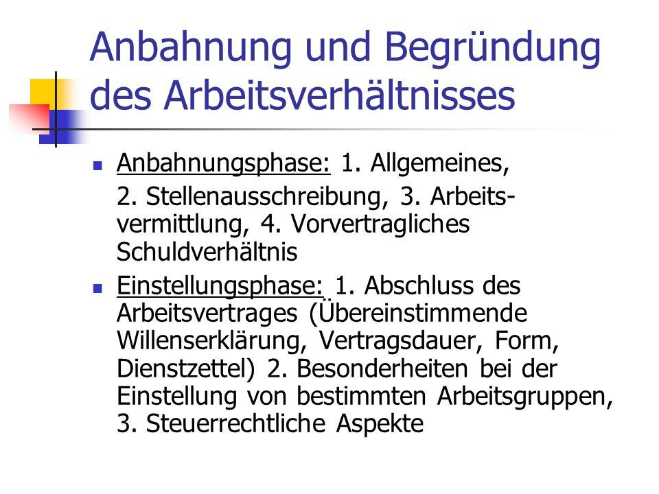 Anbahnung und Begründung des Arbeitsverhältnisses Anbahnungsphase: 1. Allgemeines, 2. Stellenausschreibung, 3. Arbeits- vermittlung, 4. Vorvertraglich