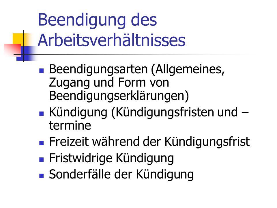 Beendigung des Arbeitsverhältnisses Beendigungsarten (Allgemeines, Zugang und Form von Beendigungserklärungen) Kündigung (Kündigungsfristen und – term