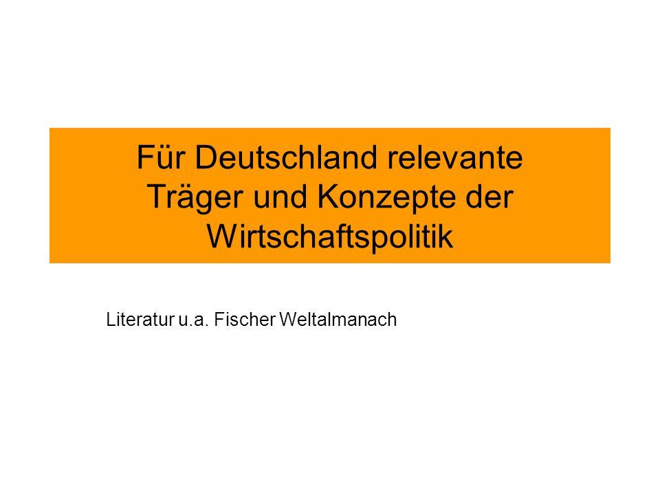 Für Deutschland relevante Träger und Konzepte der Wirtschaftspolitik Literatur u.a.
