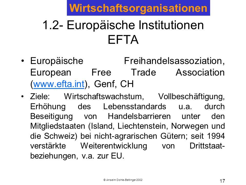 © Anselm Dohle-Beltinger 2002 17 1.2- Europäische Institutionen EFTA Europäische Freihandelsassoziation, European Free Trade Association (www.efta.int), Genf, CHwww.efta.int Ziele: Wirtschaftswachstum, Vollbeschäftigung, Erhöhung des Lebensstandards u.a.