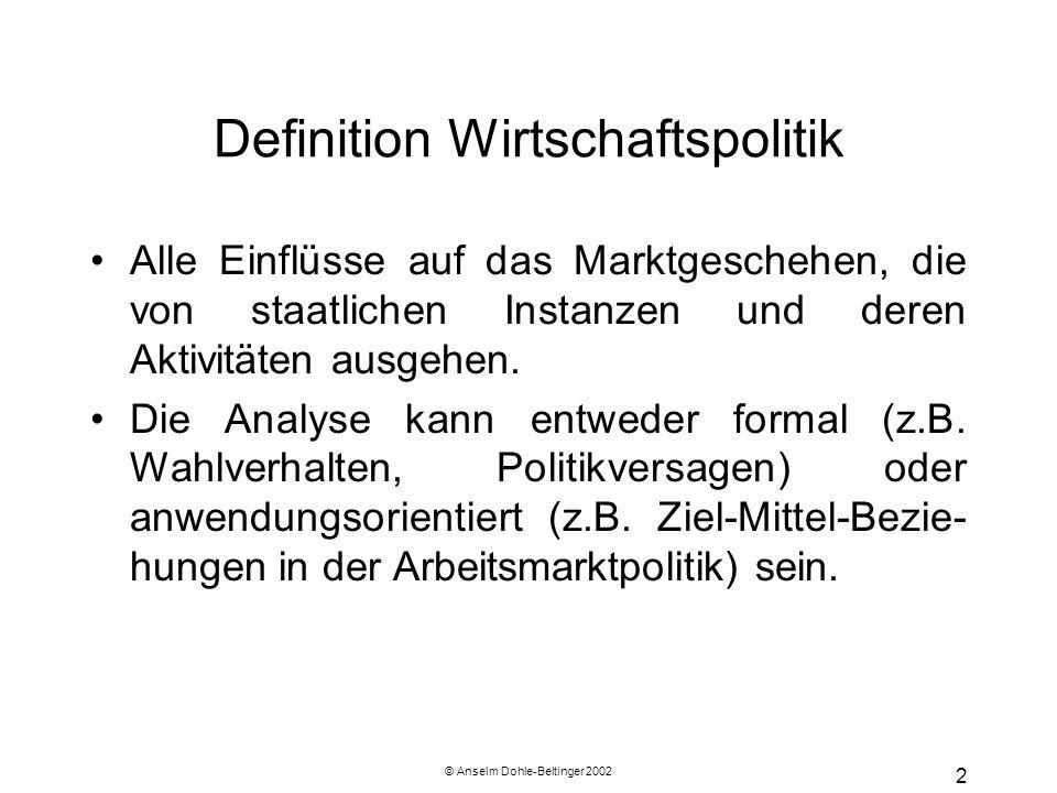 © Anselm Dohle-Beltinger 2002 2 Definition Wirtschaftspolitik Alle Einflüsse auf das Marktgeschehen, die von staatlichen Instanzen und deren Aktivitäten ausgehen.