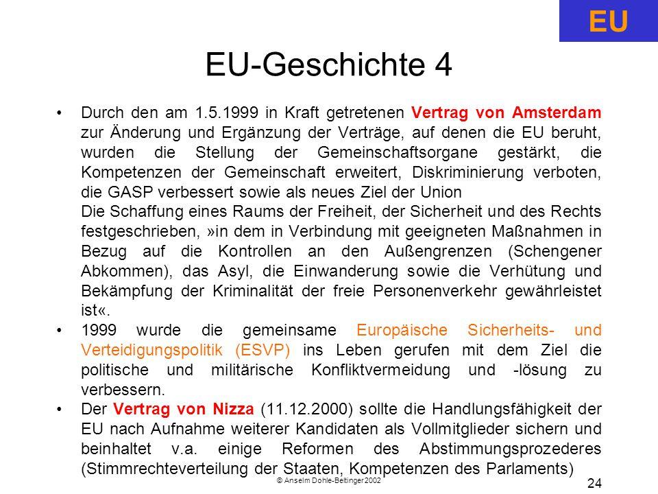 © Anselm Dohle-Beltinger 2002 24 EU-Geschichte 4 Durch den am 1.5.1999 in Kraft getretenen Vertrag von Amsterdam zur Änderung und Ergänzung der Verträge, auf denen die EU beruht, wurden die Stellung der Gemeinschaftsorgane gestärkt, die Kompetenzen der Gemeinschaft erweitert, Diskriminierung verboten, die GASP verbessert sowie als neues Ziel der Union Die Schaffung eines Raums der Freiheit, der Sicherheit und des Rechts festgeschrieben, »in dem in Verbindung mit geeigneten Maßnahmen in Bezug auf die Kontrollen an den Außengrenzen (Schengener Abkommen), das Asyl, die Einwanderung sowie die Verhütung und Bekämpfung der Kriminalität der freie Personenverkehr gewährleistet ist«.