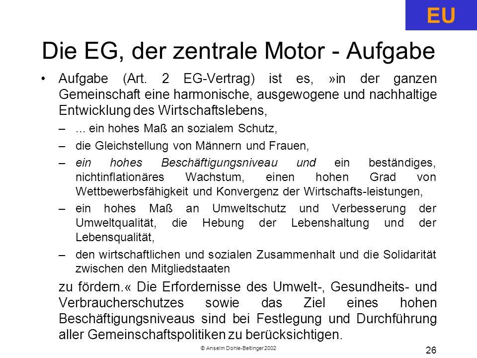 © Anselm Dohle-Beltinger 2002 26 Die EG, der zentrale Motor - Aufgabe Aufgabe (Art.