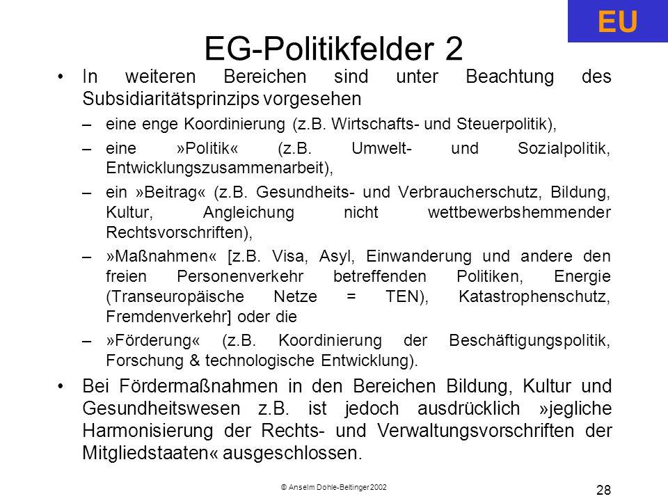 © Anselm Dohle-Beltinger 2002 28 EG-Politikfelder 2 In weiteren Bereichen sind unter Beachtung des Subsidiaritätsprinzips vorgesehen –eine enge Koordinierung (z.B.