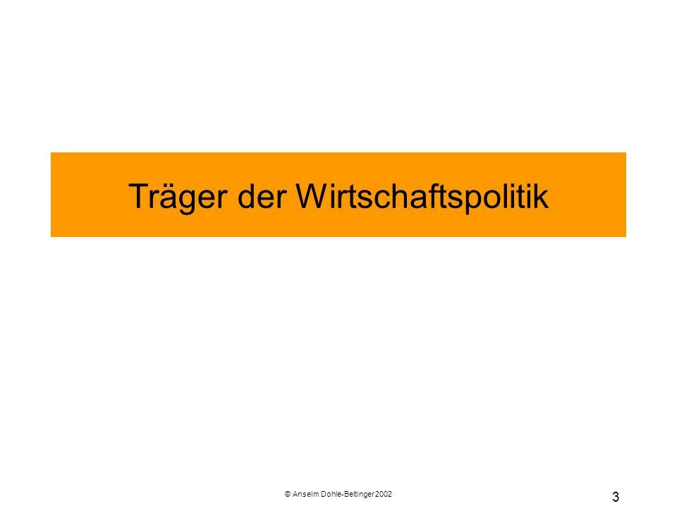 © Anselm Dohle-Beltinger 2002 34 Wettbewerbspolitik (Forts.) Beihilfen Dies ist ein anderer Begriff für Subventionen, d.h.