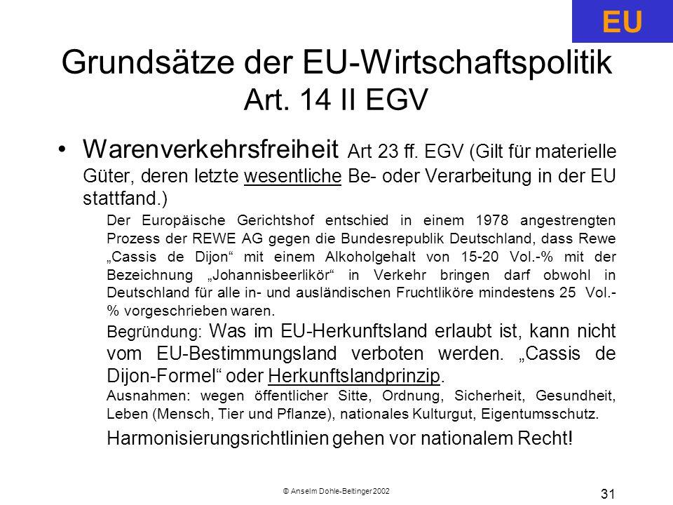 © Anselm Dohle-Beltinger 2002 31 Grundsätze der EU-Wirtschaftspolitik Art.
