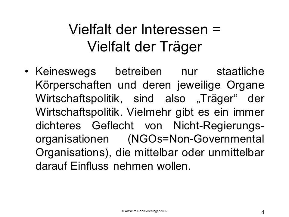 """© Anselm Dohle-Beltinger 2002 4 Vielfalt der Interessen = Vielfalt der Träger Keineswegs betreiben nur staatliche Körperschaften und deren jeweilige Organe Wirtschaftspolitik, sind also """"Träger der Wirtschaftspolitik."""