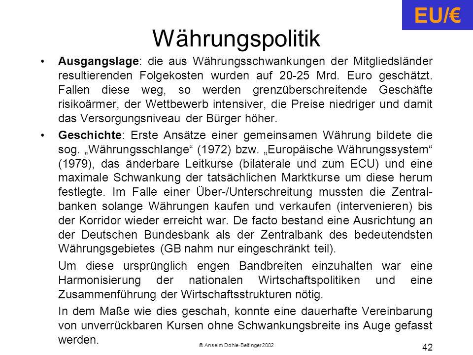 © Anselm Dohle-Beltinger 2002 42 Währungspolitik Ausgangslage: die aus Währungsschwankungen der Mitgliedsländer resultierenden Folgekosten wurden auf 20-25 Mrd.